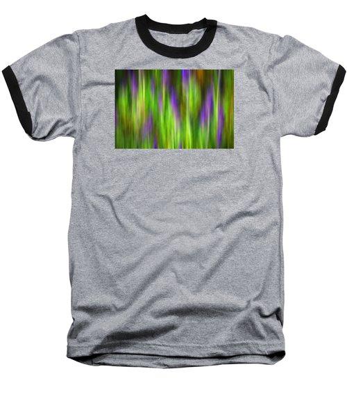 Purple Sage Digital Abstracts Motion Blur Baseball T-Shirt by Rich Franco