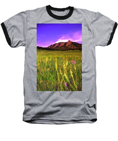 Purple Skies And Wildflowers Baseball T-Shirt by Scott Mahon