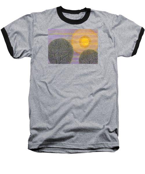 Purple Sunset Baseball T-Shirt by Charles Cater