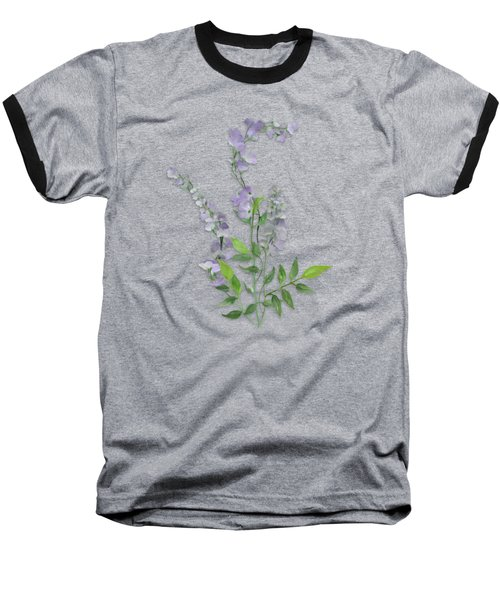Baseball T-Shirt featuring the painting Purple Tiny Flowers by Ivana Westin