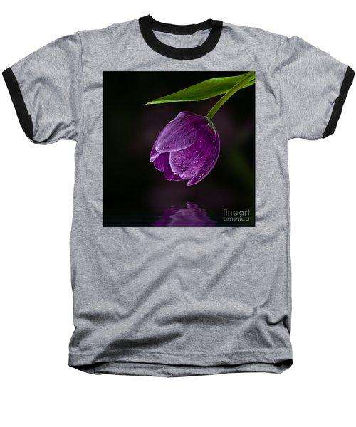 Purple Tulip Baseball T-Shirt by Shirley Mangini