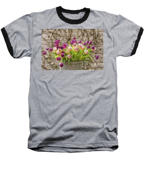 Baseball T-Shirt featuring the photograph Purple Tulips In A Bucket by Patricia Hofmeester