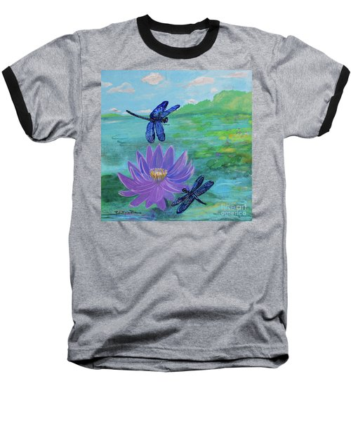Purple Water Lily And Dragonflies Baseball T-Shirt
