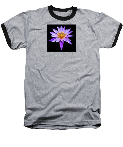 Purple Waterlily With Golden Heart Baseball T-Shirt by Venetia Featherstone-Witty