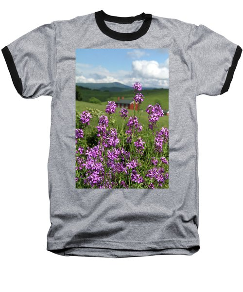 Baseball T-Shirt featuring the photograph Purple Wild Flowers On Field by Emanuel Tanjala