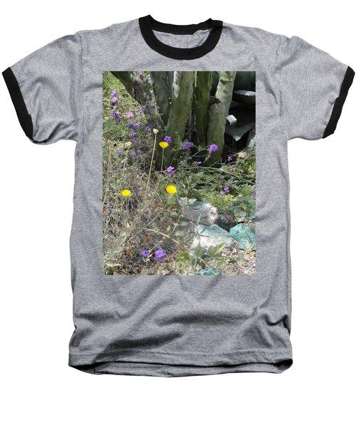 Purple Yellow Flowers Green Cactus Baseball T-Shirt