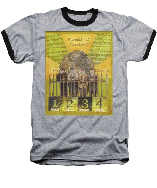 Baseball T-Shirt featuring the mixed media Pursuit Of Happiness by Desiree Paquette