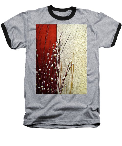 Pussy Willow Corner Baseball T-Shirt by Joan  Minchak
