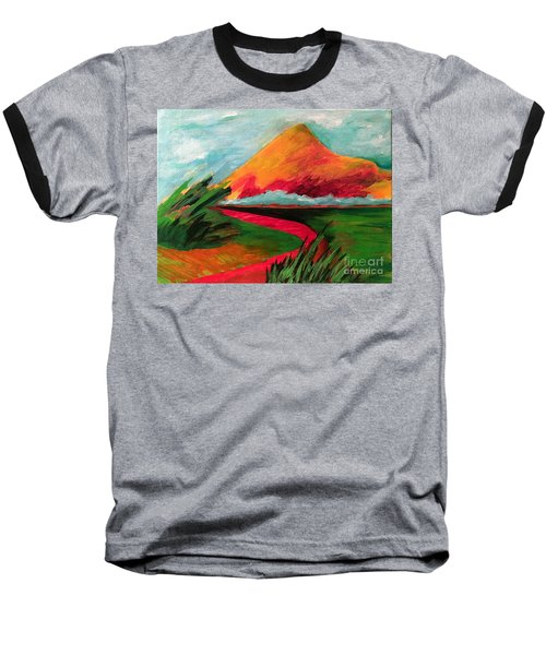 Baseball T-Shirt featuring the painting Pyramid Mountain by Elizabeth Fontaine-Barr