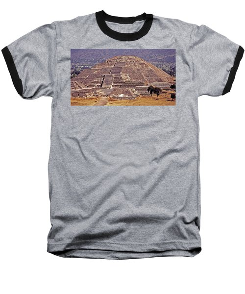 Pyramid Of The Sun - Teotihuacan Baseball T-Shirt by Juergen Weiss