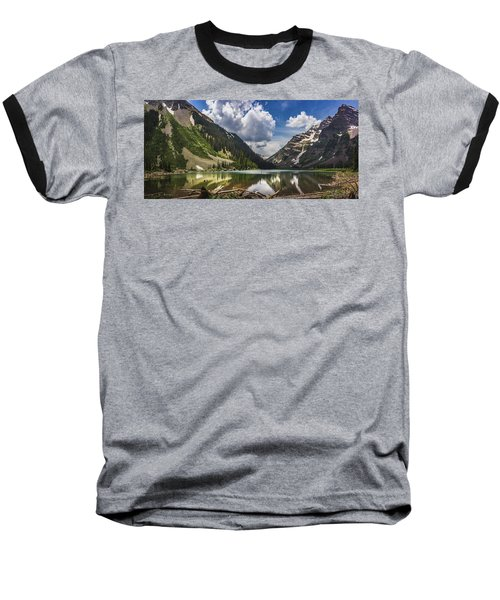 Pyramid Peak, Maroon Bells, And Crater Lake Panorama Baseball T-Shirt