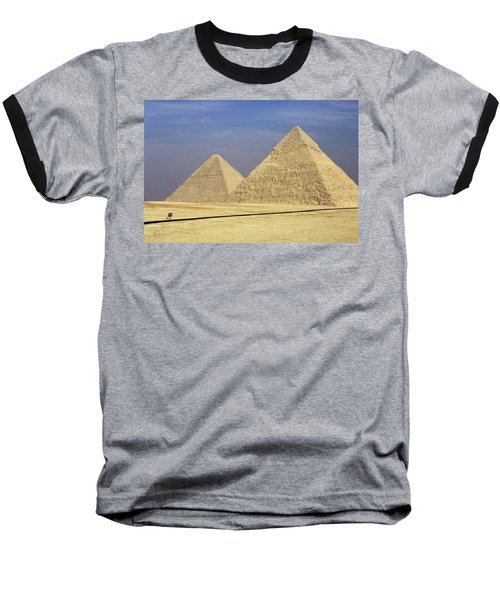 Pyramids At Giza Baseball T-Shirt by Mark Greenberg