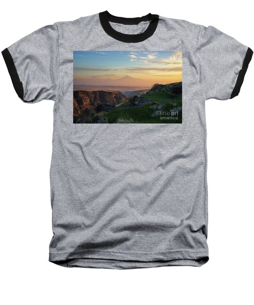 Qasakh Gorge And Ararat Mountain At Golden Hour Baseball T-Shirt