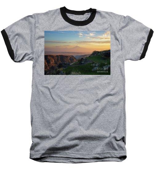 Qasakh Gorge And Ararat Mountain At Golden Hour Baseball T-Shirt