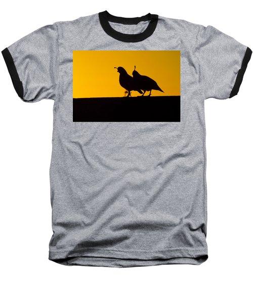 Quail At Sunset Baseball T-Shirt by Judi Saunders