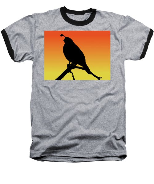 Quail Silhouette At Sunset Baseball T-Shirt