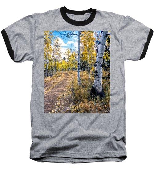 Aspens In Fall With Road Baseball T-Shirt by John Brink