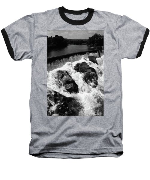 Baseball T-Shirt featuring the photograph Quechee, Vermont - Falls 2 Bw by Frank Romeo