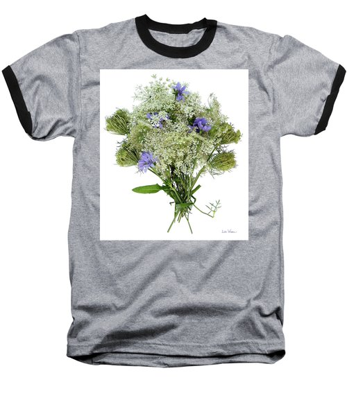 Queen Anne's Lace With Purple Flowers Baseball T-Shirt by Lise Winne