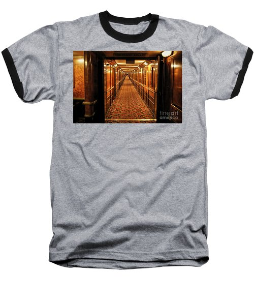 Baseball T-Shirt featuring the photograph Queen Mary Hallway by Mariola Bitner