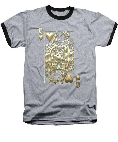 Queen Of Hearts In Gold On Black Baseball T-Shirt