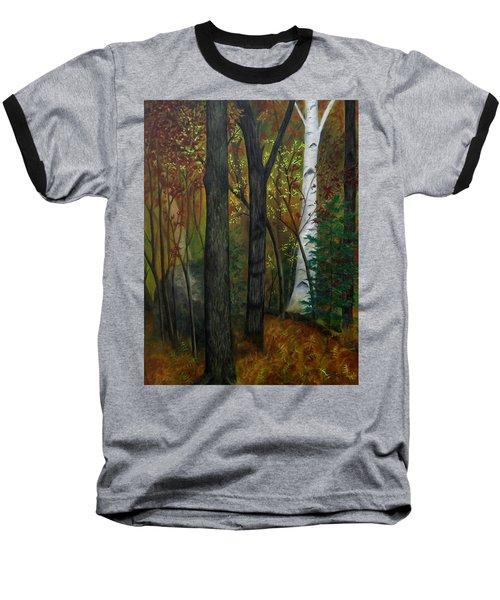 Quiet Autumn Woods Baseball T-Shirt