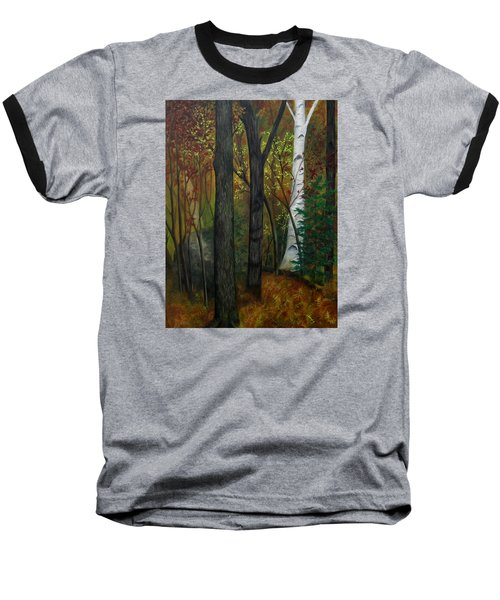 Quiet Autumn Woods Baseball T-Shirt