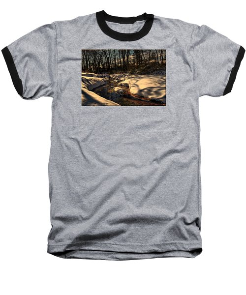 Quiet Brook On A Snowcovered Landscape Baseball T-Shirt by Mikki Cucuzzo