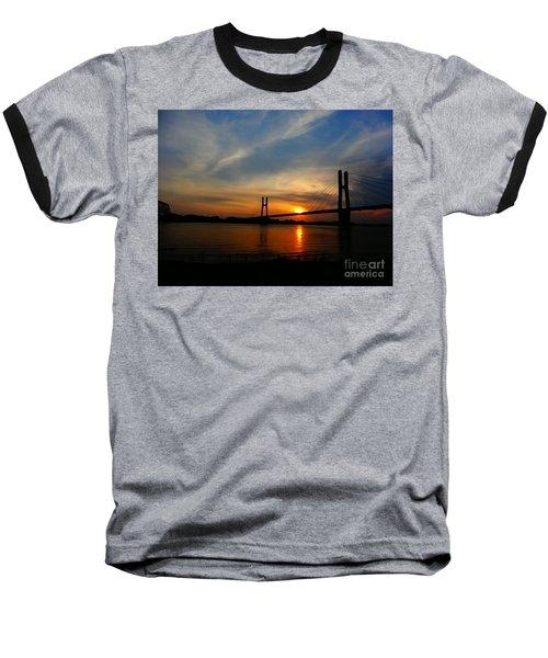Quincy Bay View Bridge Sunset Baseball T-Shirt by Justin Moore