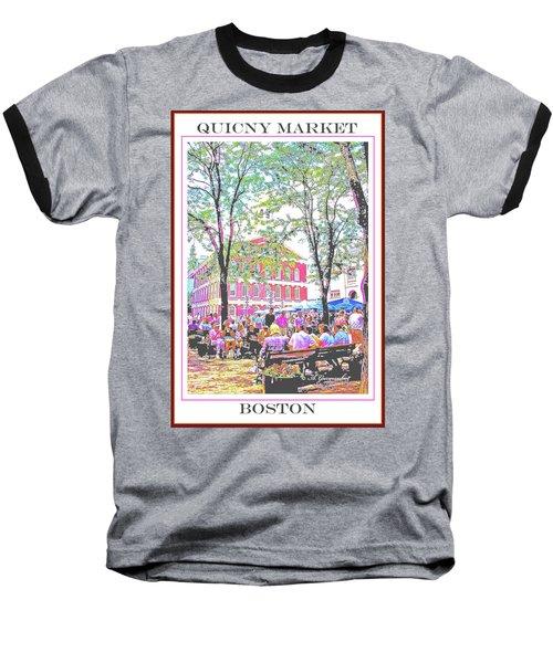 Quincy Market, Boston Massachusetts, Poster Image Baseball T-Shirt