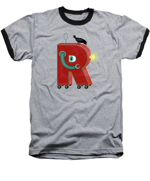 R Is For Robot Baseball T-Shirt by Valerie Drake Lesiak