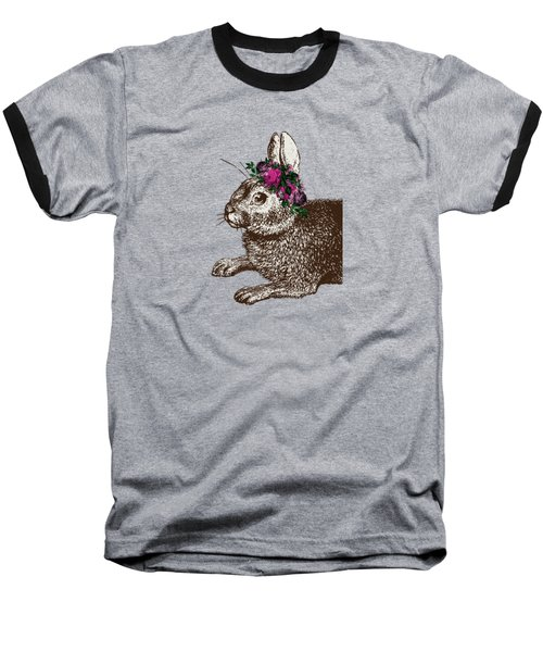 Rabbit And Roses Baseball T-Shirt by Eclectic at HeART
