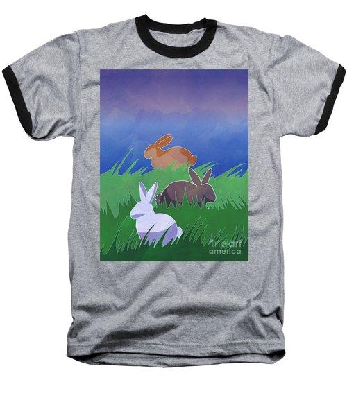 Rabbits Rabbits Rabbits Baseball T-Shirt by Whitney Morton