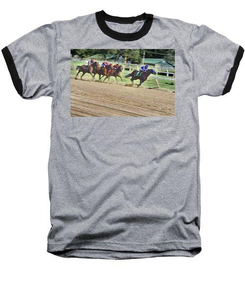 Baseball T-Shirt featuring the digital art Race Horses In Motion by Lise Winne