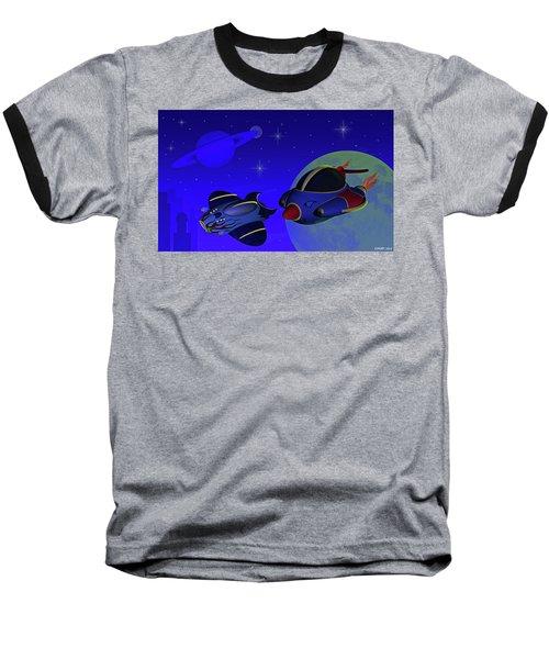 Race Thru Space Baseball T-Shirt by Ken Morris