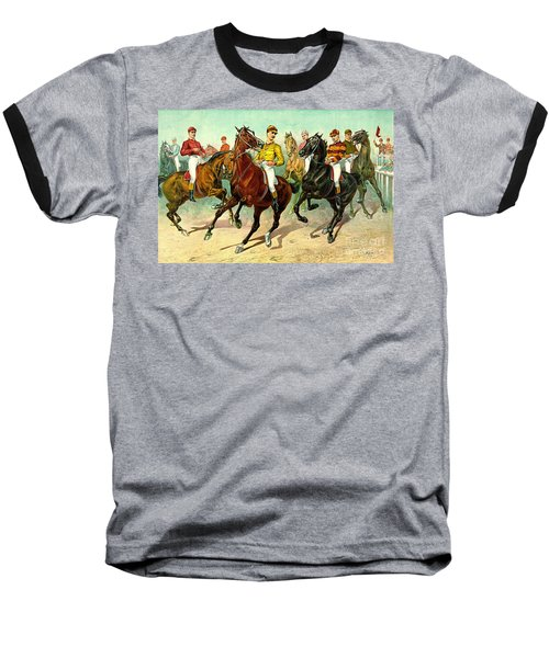 Racehorses 1893 Baseball T-Shirt by Padre Art