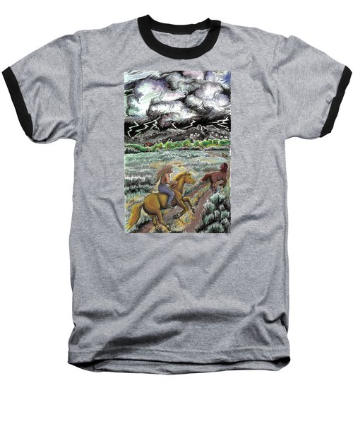 Baseball T-Shirt featuring the drawing Racing The Lightning Home by Dawn Senior-Trask
