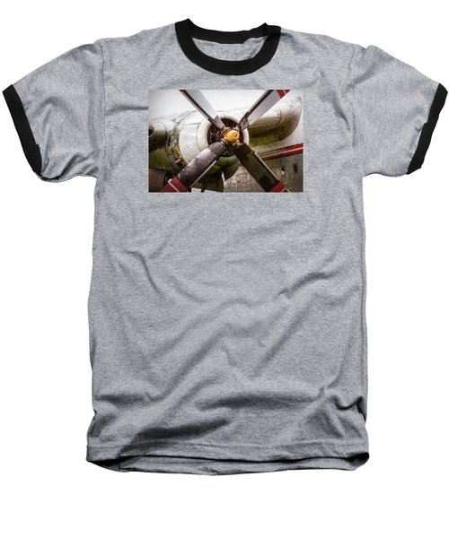 Baseball T-Shirt featuring the photograph Radial Engine And Prop - Fairchild C-119 Flying Boxcar by Gary Heller