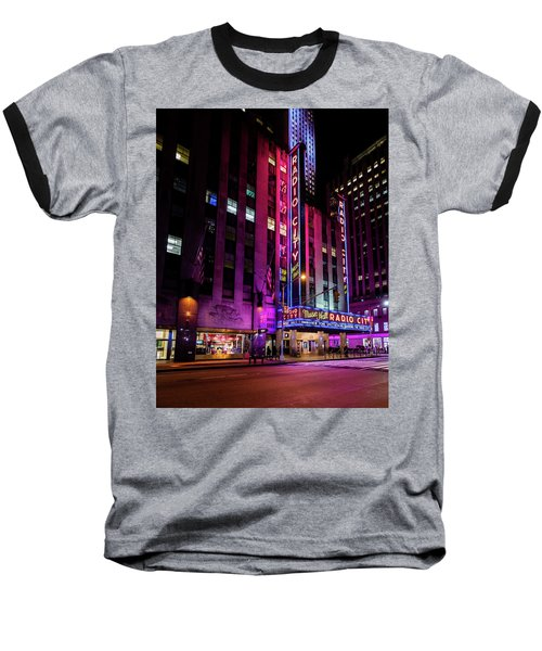 Baseball T-Shirt featuring the photograph Radio City Music Hall by M G Whittingham