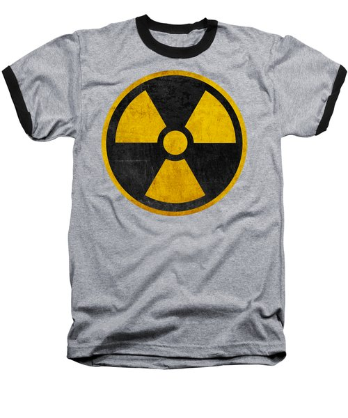 Vintage Distressed Nuclear War Fallout Shelter Sign Baseball T-Shirt by Peter Gumaer Ogden Collection