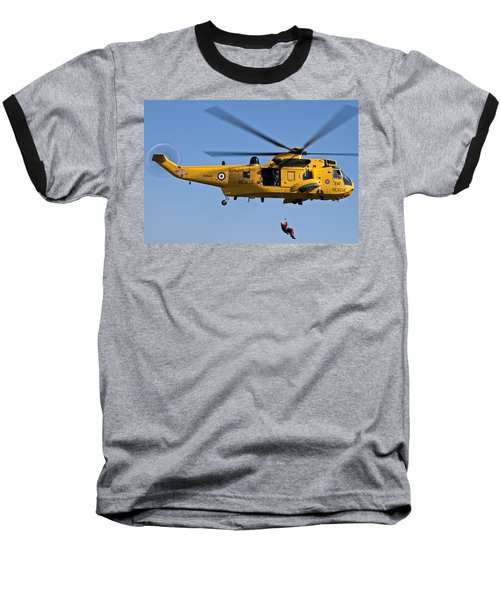 Raf Sea King Search And Rescue Helicopter 2 Baseball T-Shirt by Steve Purnell