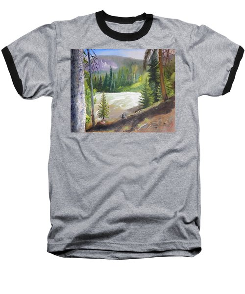 Baseball T-Shirt featuring the painting Raging River by Sherril Porter