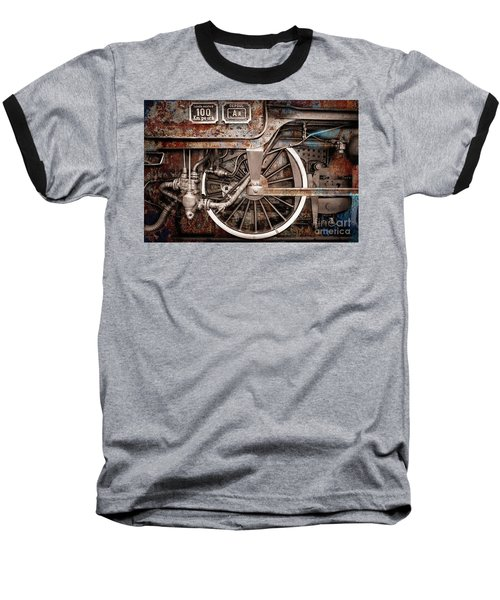 Rail Wheel Grunge Detail,  Steam Locomotive 06 Baseball T-Shirt