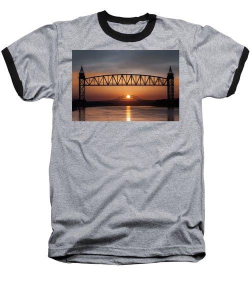 Railroad Bridge Framing The Bourne Bridge During A Sunrise Baseball T-Shirt