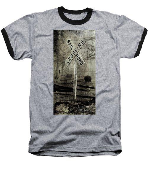 Railroad Crossing Baseball T-Shirt by Michael Eingle