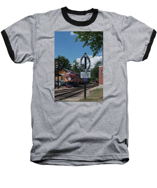 Railroad Crossing Baseball T-Shirt by Suzanne Gaff