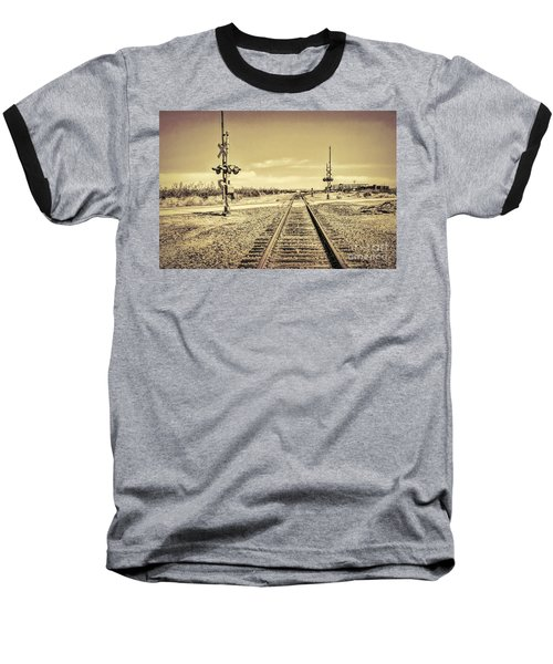 Railroad Crossing Textured Baseball T-Shirt