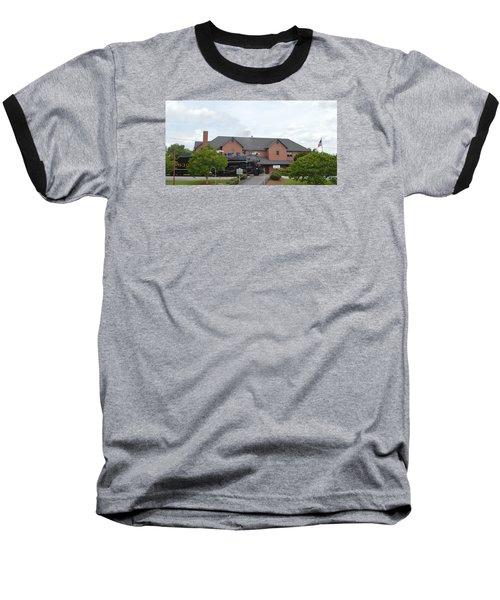 Railroad Depot Baseball T-Shirt by Linda Geiger