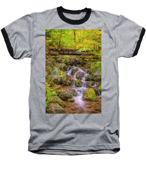 Railroad In The Woods Baseball T-Shirt by David Cote