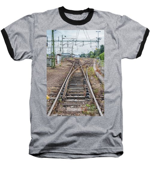 Baseball T-Shirt featuring the photograph Railroad Tracks And Junctions by Antony McAulay